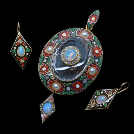 Holbeinesque Antique Victorian Jewelry Set Pendant Earrings Gold Diamond Opal Pearl Enamel (4877)