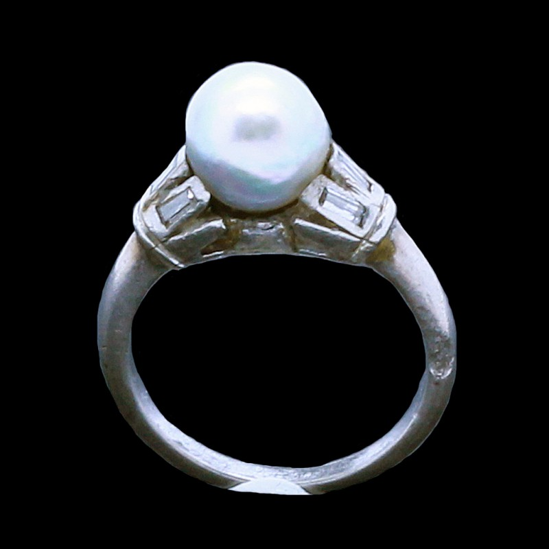 Vintage Antique Art Deco Pearl Diamond Ring Silver Gia