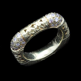 Antique Square Wedding Band Eternity Ring Yellow Gold Diamonds c1900 (ID:5630)