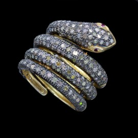 Snake Ring Gold Silver 1 1/4ct Diamonds Coiled Snake w Appraisal (5719)