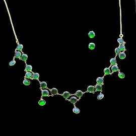 Natural Diopside Green Gem Gold Necklace Earrings Ear Stud Set Modern (ID:5587)