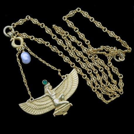 Wiese Necklace Egyptian Revival 18k Gold Emerald Natural Pearl Signed (6570)