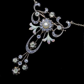 Antique Russian Pendant Necklace Brooch Diamonds Pearl Enamel Gold Silver (6572)