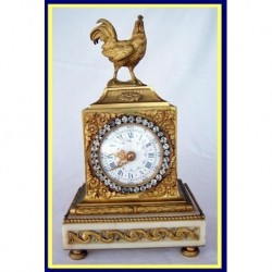 Antique French Gilt Bronze Clock w Cockerel, Jewels (4553)