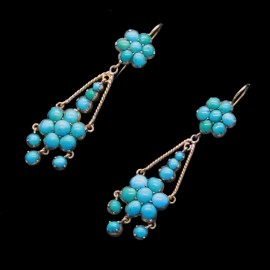 Antique Victorian Earrings Ear Pendants 15k Gold Turquoise C1860 English (6114)