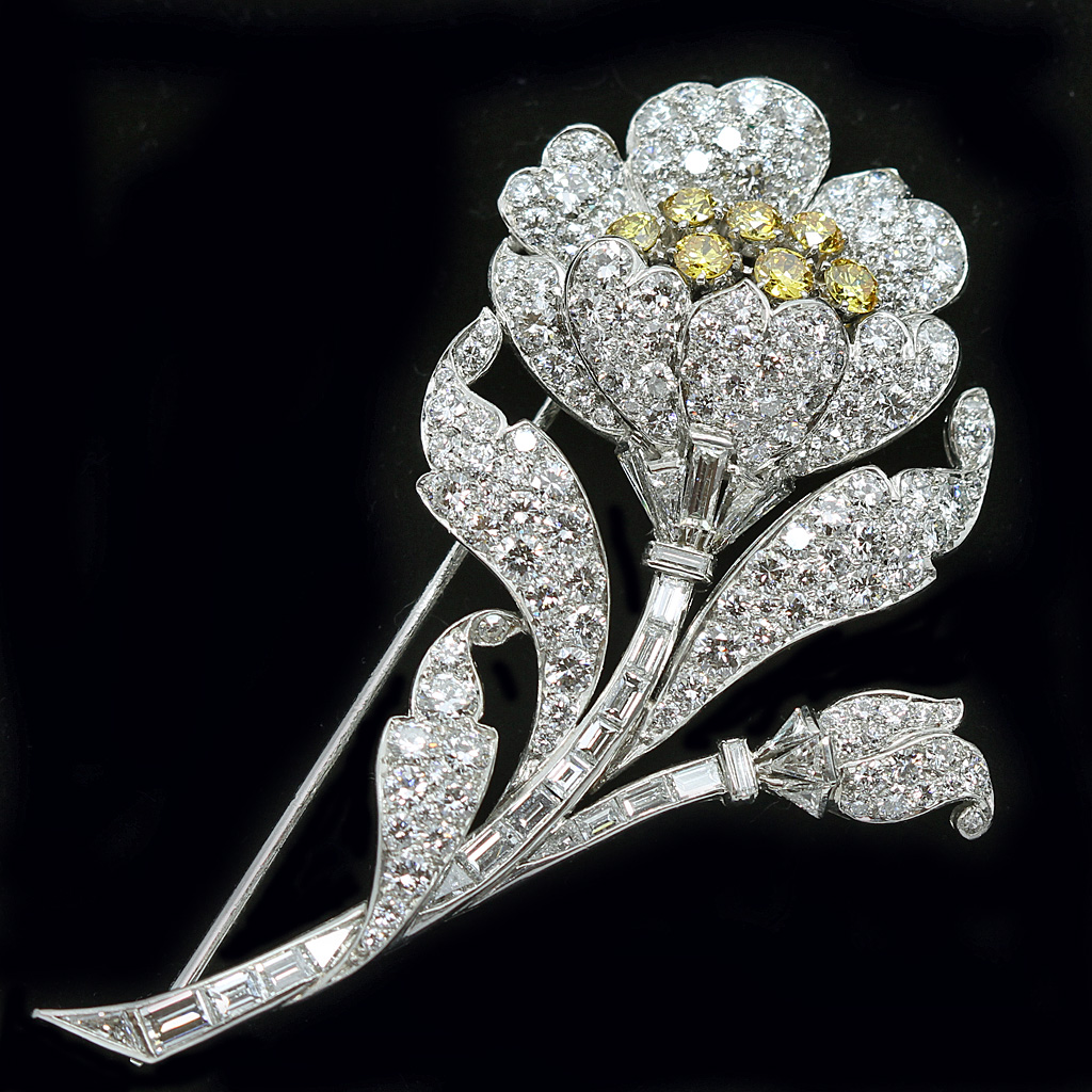 Fancy Yellow and White Diamond brooch.